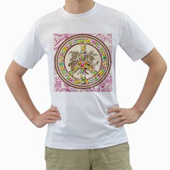 Peace Logo Floral Pattern Men s T-Shirt (White) (Two Sided)