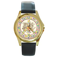Peace Logo Floral Pattern Round Gold Metal Watch