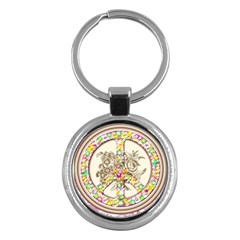 Peace Logo Floral Pattern Key Chains (Round)