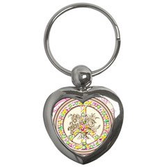Peace Logo Floral Pattern Key Chains (Heart)