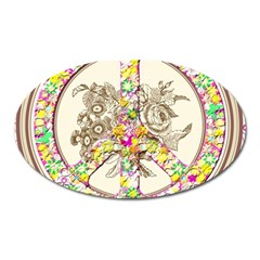 Peace Logo Floral Pattern Oval Magnet