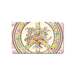 Peace Logo Floral Pattern Magnet (name Card)