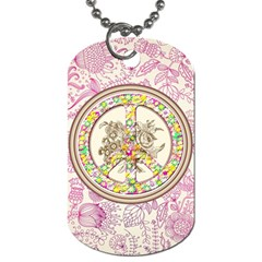 Peace Logo Floral Pattern Dog Tag (Two Sides)