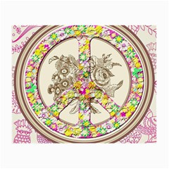 Peace Logo Floral Pattern Small Glasses Cloth