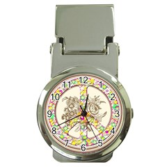Peace Logo Floral Pattern Money Clip Watches