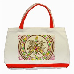 Peace Logo Floral Pattern Classic Tote Bag (red)