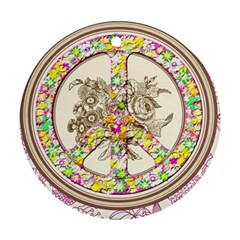 Peace Logo Floral Pattern Round Ornament (two Sides)