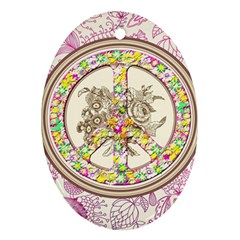 Peace Logo Floral Pattern Oval Ornament (two Sides)