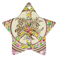 Peace Logo Floral Pattern Star Ornament (Two Sides)