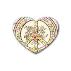 Peace Logo Floral Pattern Heart Coaster (4 Pack)