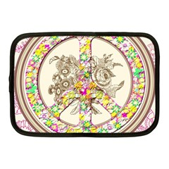 Peace Logo Floral Pattern Netbook Case (medium)