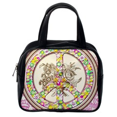 Peace Logo Floral Pattern Classic Handbags (One Side)