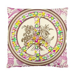Peace Logo Floral Pattern Standard Cushion Case (two Sides)