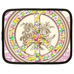 Peace Logo Floral Pattern Netbook Case (xl)
