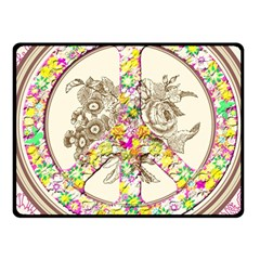 Peace Logo Floral Pattern Fleece Blanket (Small)