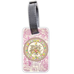 Peace Logo Floral Pattern Luggage Tags (Two Sides)