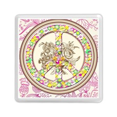 Peace Logo Floral Pattern Memory Card Reader (square)