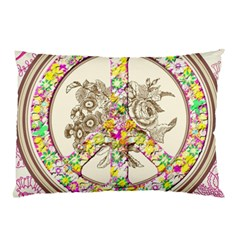 Peace Logo Floral Pattern Pillow Case (two Sides)