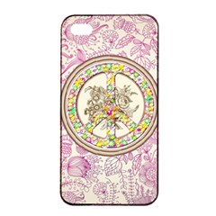 Peace Logo Floral Pattern Apple Iphone 4/4s Seamless Case (black)