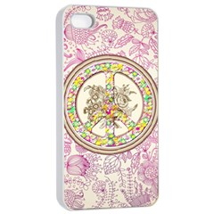 Peace Logo Floral Pattern Apple Iphone 4/4s Seamless Case (white)