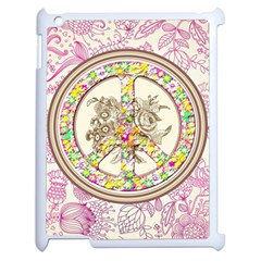 Peace Logo Floral Pattern Apple Ipad 2 Case (white)