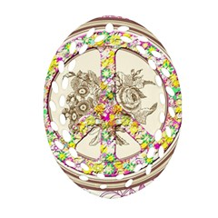 Peace Logo Floral Pattern Oval Filigree Ornament (Two Sides)