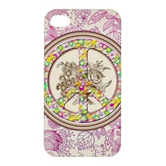Peace Logo Floral Pattern Apple iPhone 4/4S Hardshell Case