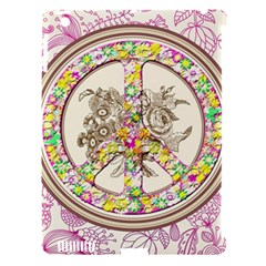 Peace Logo Floral Pattern Apple iPad 3/4 Hardshell Case (Compatible with Smart Cover)