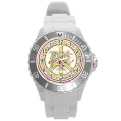 Peace Logo Floral Pattern Round Plastic Sport Watch (L)
