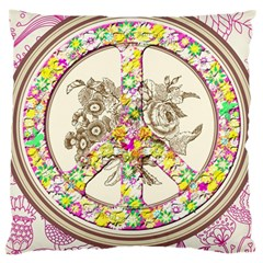 Peace Logo Floral Pattern Large Cushion Case (Two Sides)