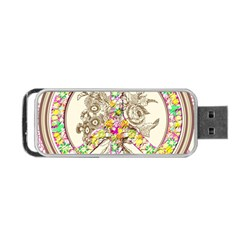Peace Logo Floral Pattern Portable USB Flash (One Side)