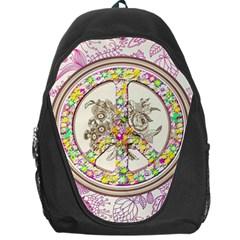 Peace Logo Floral Pattern Backpack Bag