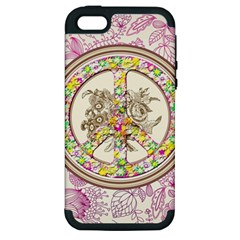 Peace Logo Floral Pattern Apple iPhone 5 Hardshell Case (PC+Silicone)
