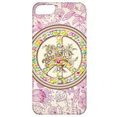 Peace Logo Floral Pattern Apple iPhone 5 Classic Hardshell Case