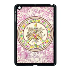Peace Logo Floral Pattern Apple iPad Mini Case (Black)