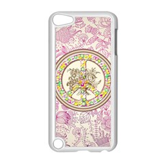 Peace Logo Floral Pattern Apple iPod Touch 5 Case (White)