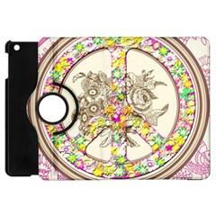 Peace Logo Floral Pattern Apple iPad Mini Flip 360 Case