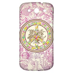 Peace Logo Floral Pattern Samsung Galaxy S3 S Iii Classic Hardshell Back Case