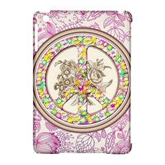 Peace Logo Floral Pattern Apple iPad Mini Hardshell Case (Compatible with Smart Cover)