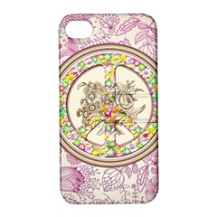 Peace Logo Floral Pattern Apple iPhone 4/4S Hardshell Case with Stand