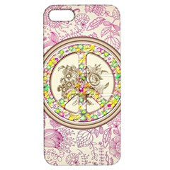 Peace Logo Floral Pattern Apple iPhone 5 Hardshell Case with Stand