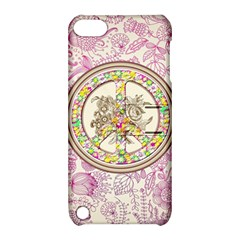 Peace Logo Floral Pattern Apple iPod Touch 5 Hardshell Case with Stand
