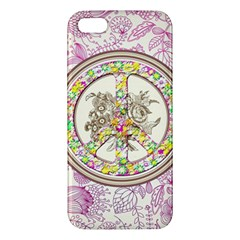 Peace Logo Floral Pattern Apple iPhone 5 Premium Hardshell Case
