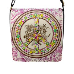 Peace Logo Floral Pattern Flap Messenger Bag (L)