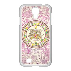 Peace Logo Floral Pattern Samsung GALAXY S4 I9500/ I9505 Case (White)