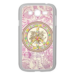 Peace Logo Floral Pattern Samsung Galaxy Grand DUOS I9082 Case (White)