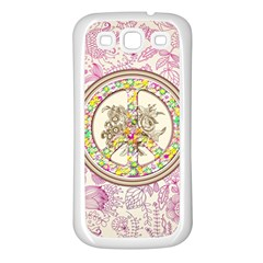 Peace Logo Floral Pattern Samsung Galaxy S3 Back Case (White)