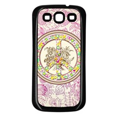 Peace Logo Floral Pattern Samsung Galaxy S3 Back Case (Black)
