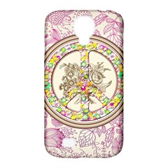 Peace Logo Floral Pattern Samsung Galaxy S4 Classic Hardshell Case (PC+Silicone)