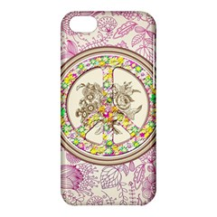Peace Logo Floral Pattern Apple iPhone 5C Hardshell Case